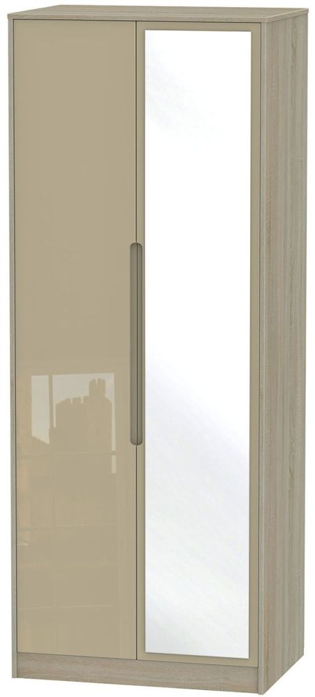 Monaco High Gloss Mushroom and Darkolino Wardrobe - Tall 2ft 6in with Mirror