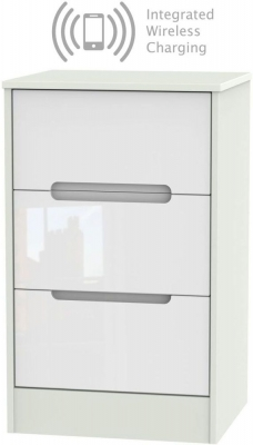 Monaco 3 Drawer Bedside Cabinet with Integrated Wireless Charging - High Gloss White and Kaschmir