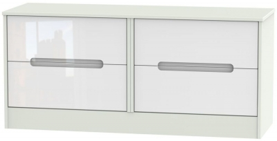 Monaco High Gloss White and Kaschmir Bed Box - 4 Drawer