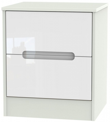 Monaco High Gloss White and Kaschmir Bedside Cabinet - 2 Drawer Locker