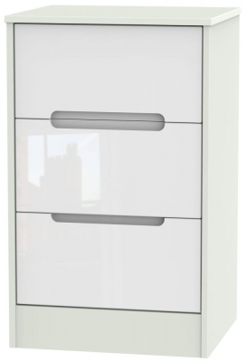 Monaco High Gloss White and Kaschmir Bedside Cabinet - 3 Drawer Locker