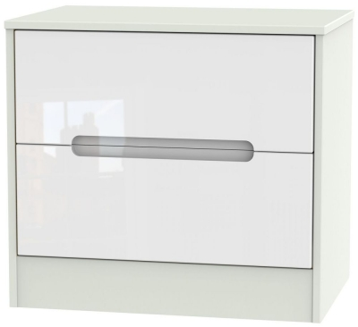 Monaco High Gloss White and Kaschmir Chest of Drawer - 2 Drawer Midi