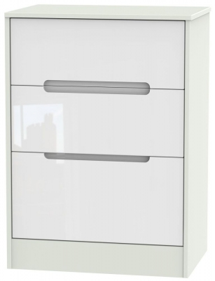 Monaco High Gloss White and Kaschmir Chest of Drawer - 3 Drawer Deep Midi