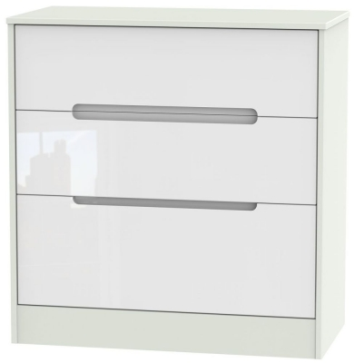 Monaco High Gloss White and Kaschmir Chest of Drawer - 3 Drawer Deep