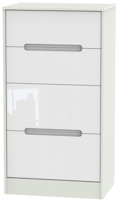 Monaco High Gloss White and Kaschmir Chest of Drawer - 4 Drawer Deep Midi