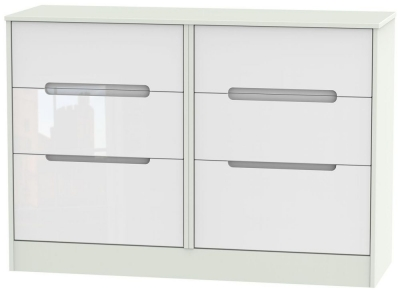 Monaco 6 Drawer Midi Chest - High Gloss White and Kaschmir