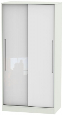 Monaco High Gloss White and Kaschmir Sliding Wardrobe - Wide