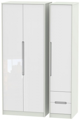 Monaco High Gloss White and Kaschmir Triple Wardrobe - Tall Plain with 2 Drawer