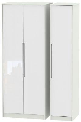 Monaco High Gloss White and Kaschmir Triple Wardrobe - Tall Plain