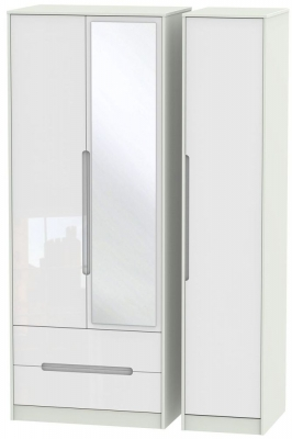 Monaco 3 Door 2 Left Drawer Tall Combi Wardrobe - High Gloss White and Kaschmir