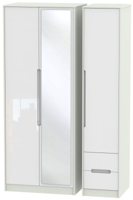 Monaco High Gloss White and Kaschmir Triple Wardrobe - Tall with Mirror and 2 Drawer