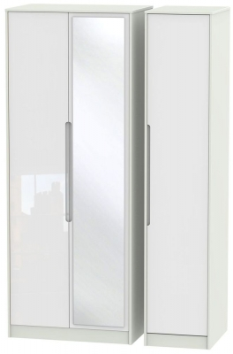 Monaco 3 Door Tall Mirror Wardrobe - High Gloss White and Kaschmir