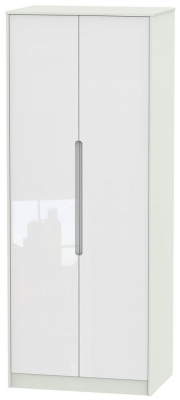 Monaco High Gloss White and Kaschmir Wardrobe - Tall 2ft 6in Plain