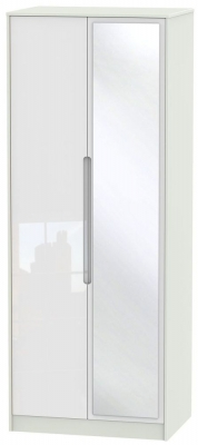 Monaco High Gloss White and Kaschmir Wardrobe - Tall 2ft 6in with Mirror