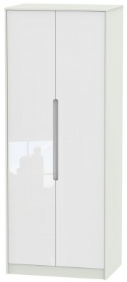 Monaco High Gloss White and Kaschmir Wardrobe - Tall 2ft 6in with Double Hanging