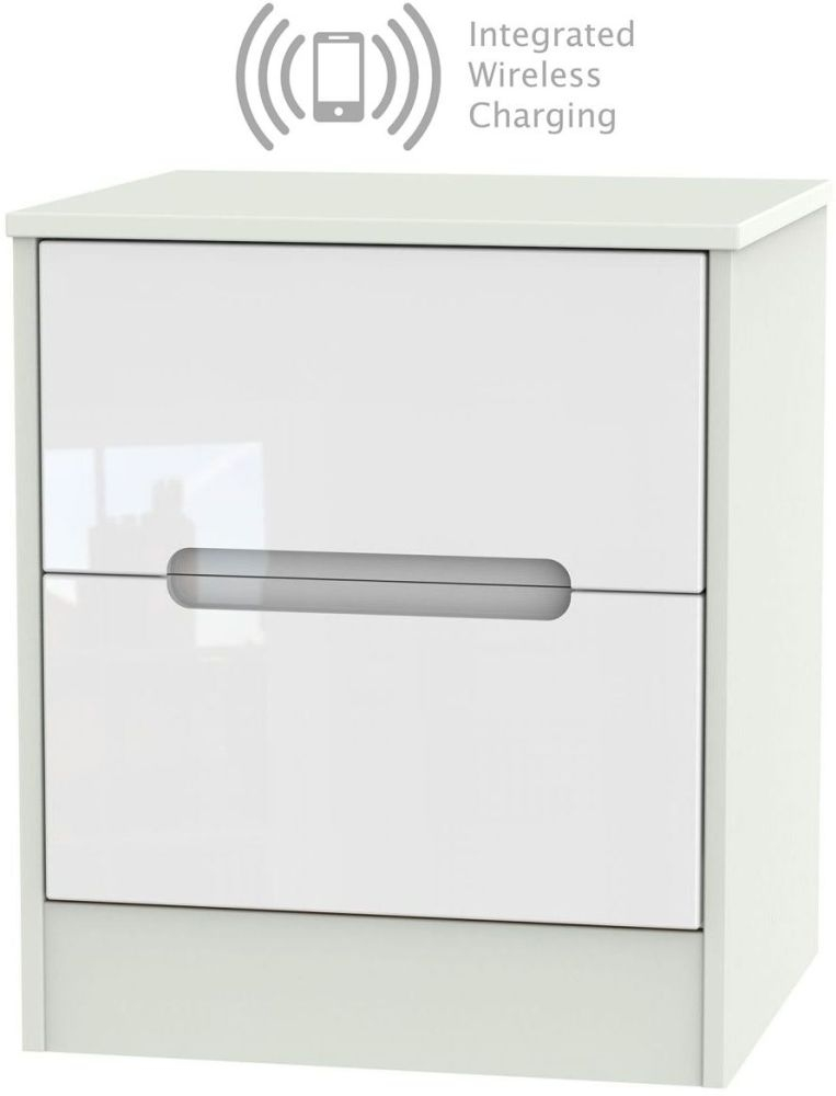 Monaco 2 Drawer Bedside Cabinet with Integrated Wireless Charging - High Gloss White and Kaschmir