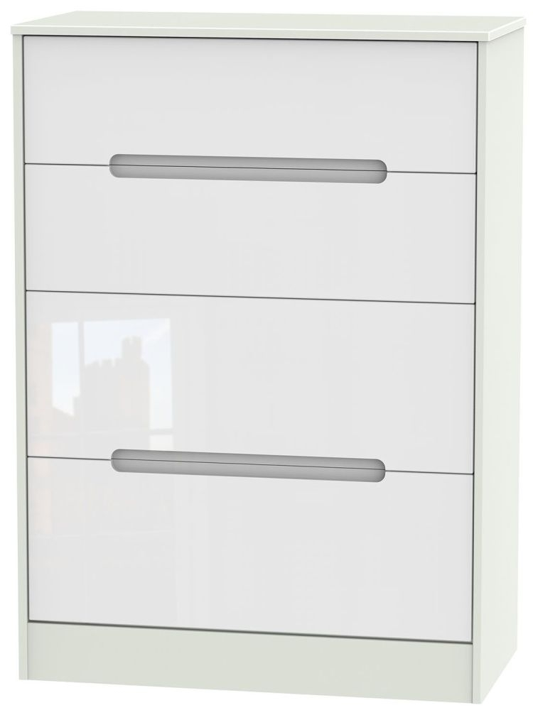Monaco 4 Drawer Deep Chest - High Gloss White and Kaschmir