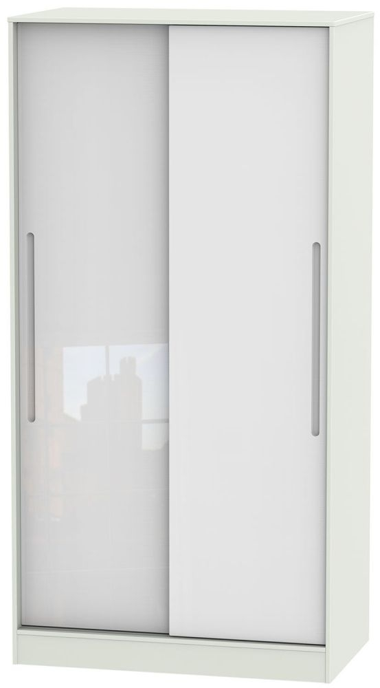 Monaco High Gloss White and Kaschmir 2 Door Wide Sliding Wardrobe