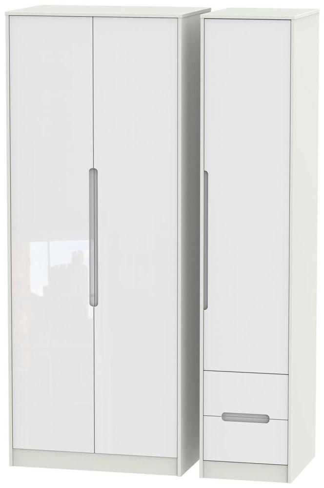 Monaco High Gloss White and Kaschmir Triple Wardrobe - Tall Plain with 2 Drawer
