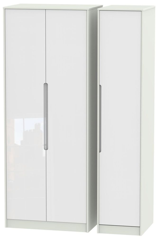 Monaco High Gloss White and Kaschmir Triple Wardrobe - Tall Plain