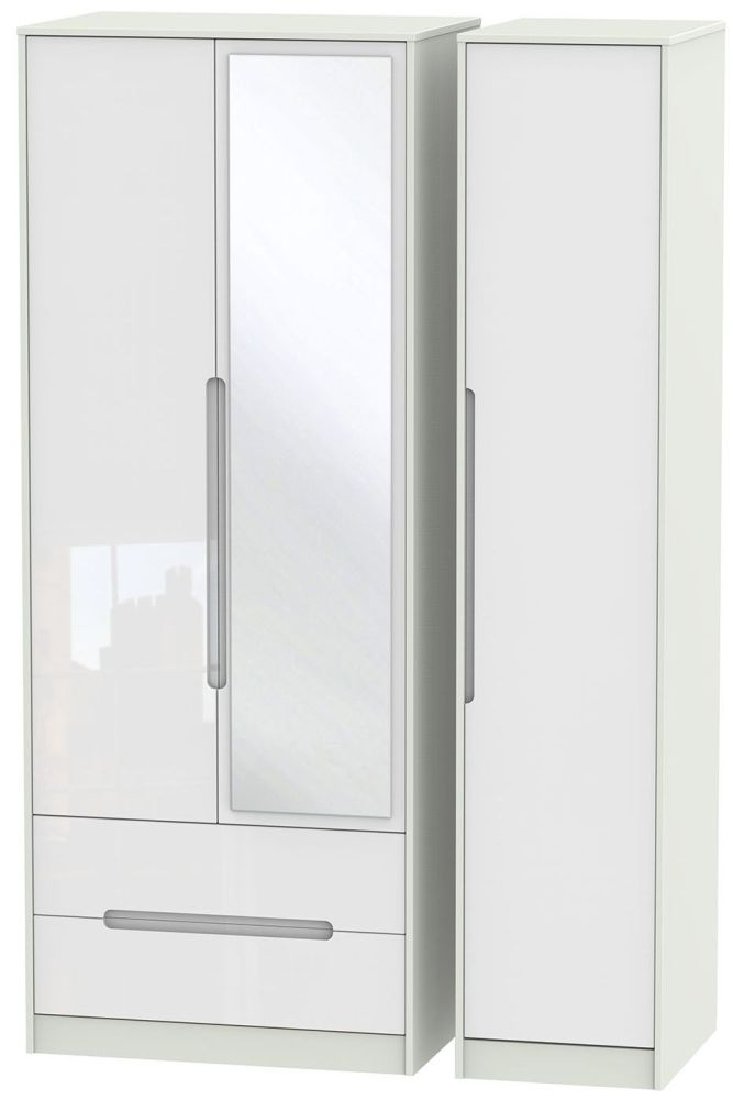 Monaco High Gloss White and Kaschmir Triple Wardrobe - Tall with 2 Drawer and Mirror