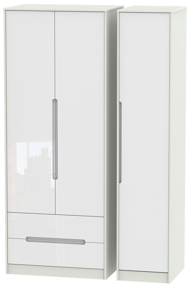 Monaco 3 Door 2 Left Drawer Tall Wardrobe - High Gloss White and Kaschmir