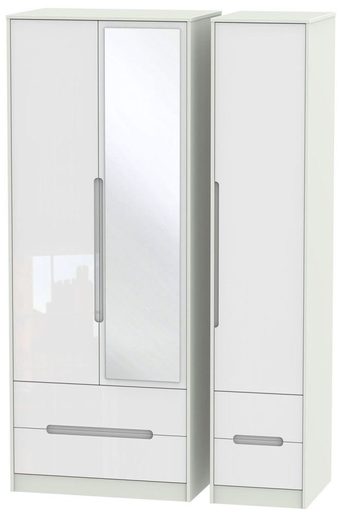 Monaco High Gloss White and Kaschmir Triple Wardrobe - Tall with Drawer and Mirror