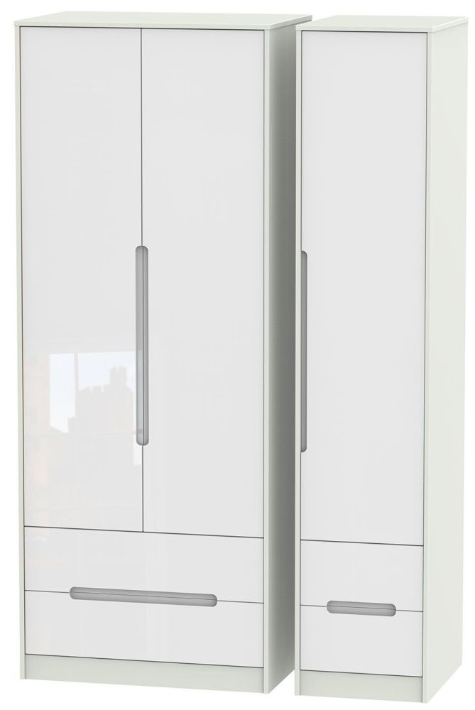 Monaco 3 Door 4 Drawer Tall Wardrobe - High Gloss White and Kaschmir