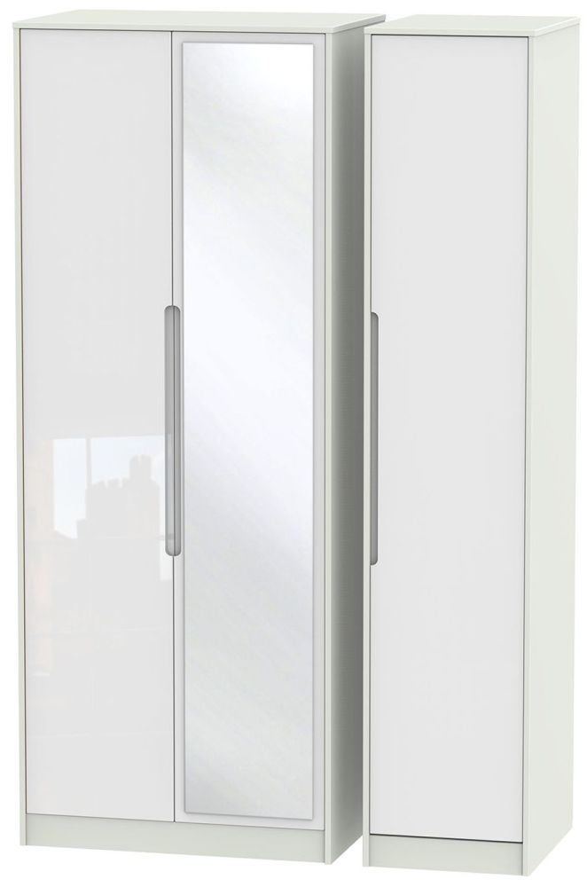 Monaco High Gloss White and Kaschmir Triple Wardrobe - Tall with Mirror