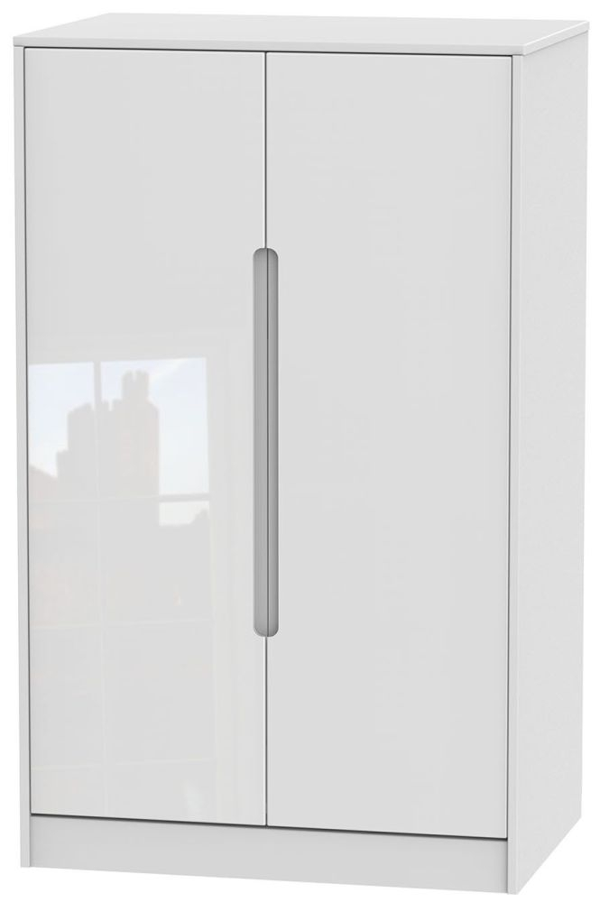 Monaco 2 Door Midi Wardrobe - High Gloss White and Kaschmir