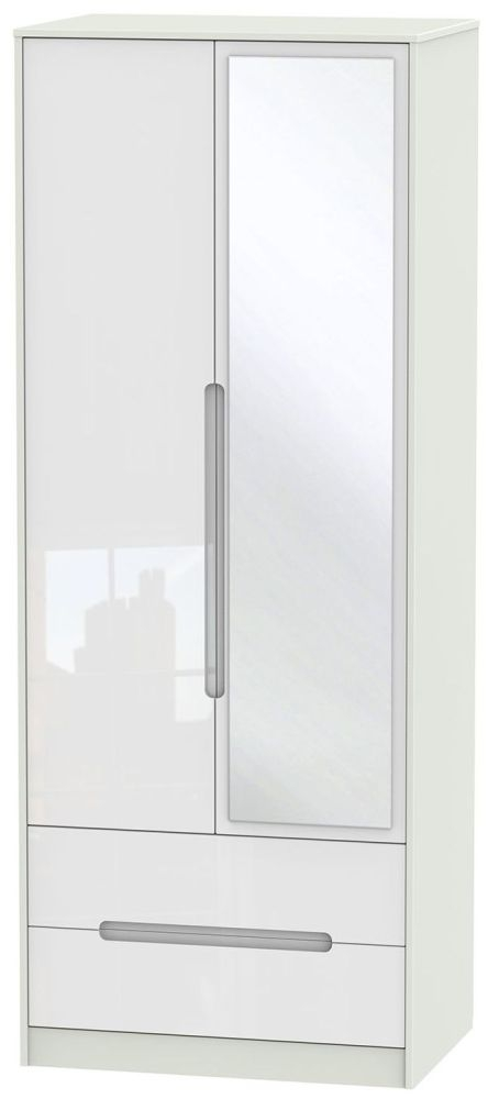Monaco High Gloss White and Kaschmir Wardrobe - Tall 2ft 6in with 2 Drawer and Mirror