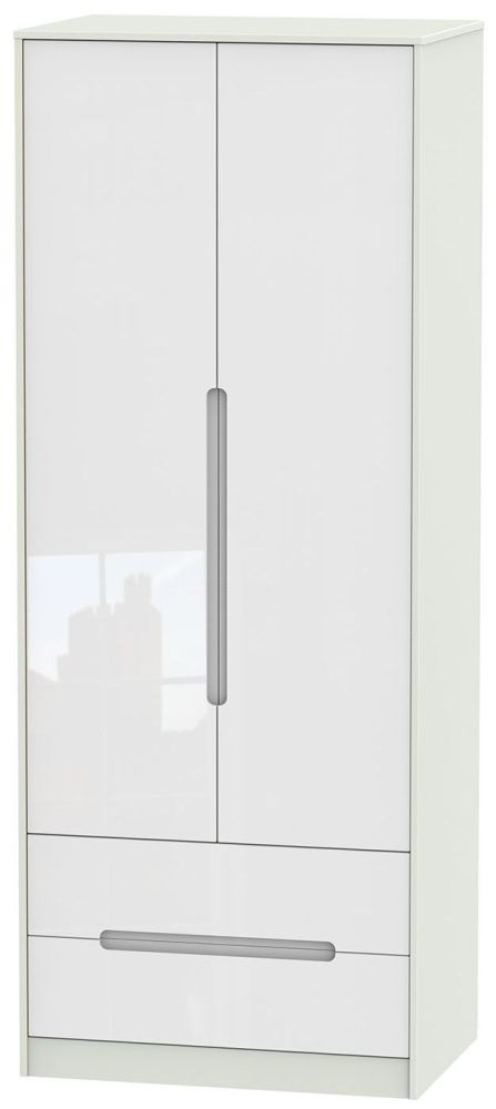 Monaco High Gloss White and Kaschmir Wardrobe - Tall 2ft 6in with 2 Drawer