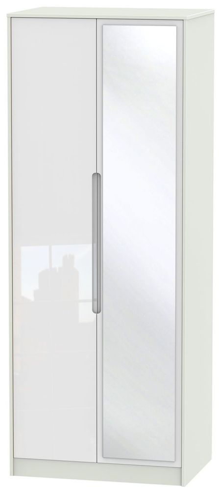 Monaco 2 Door Tall Mirror Wardrobe - High Gloss White and Kaschmir