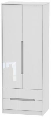 Monaco High Gloss White 2 Door 2 Drawer Tall Wardrobe