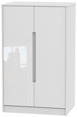 Monaco High Gloss White 2 Door Midi Wardrobe
