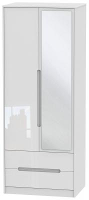 Monaco High Gloss White 2 Door Tall Combi Wardrobe