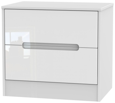 Monaco High Gloss White 2 Drawer Midi Chest