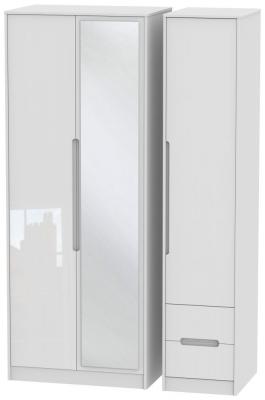 Monaco High Gloss White 3 Door 2 Right Drawer Tall Combi Wardrobe