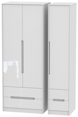 Monaco High Gloss White 3 Door 4 Drawer Tall Wardrobe