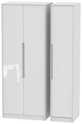 Monaco High Gloss White 3 Door Tall Wardrobe