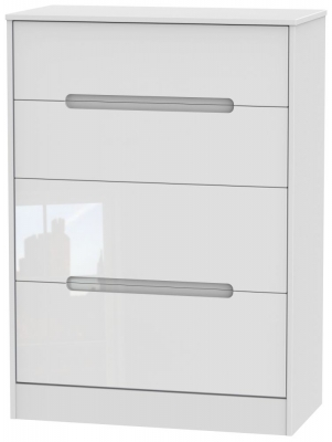 Monaco High Gloss White 4 Drawer Deep Chest