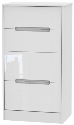 Monaco High Gloss White 4 Drawer Deep Midi Chest