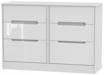 Monaco High Gloss White 6 Drawer Midi Chest