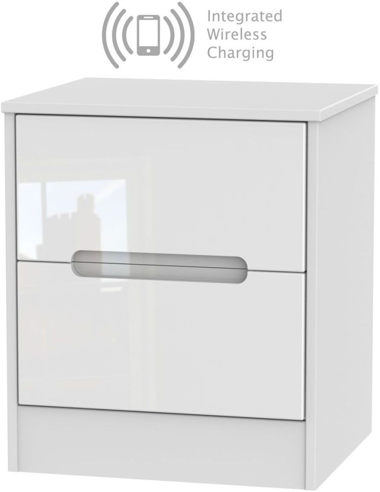 Monaco High Gloss White 2 Drawer Bedside Cabinet with Integrated Wireless Charging