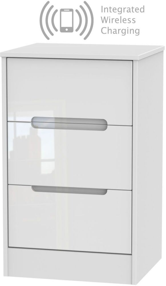 Monaco High Gloss White 3 Drawer Bedside Cabinet with Integrated Wireless Charging