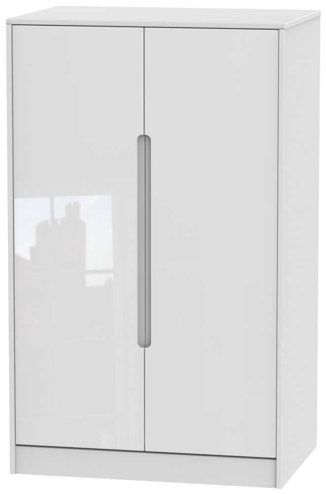 Monaco High Gloss White 2 Door Midi Wardrobe