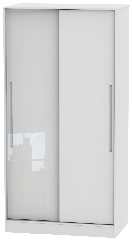 Monaco High Gloss White 2 Door Sliding Wardrobe