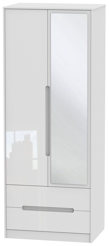 Monaco High Gloss White 2 Door Tall Combi Wardrobe