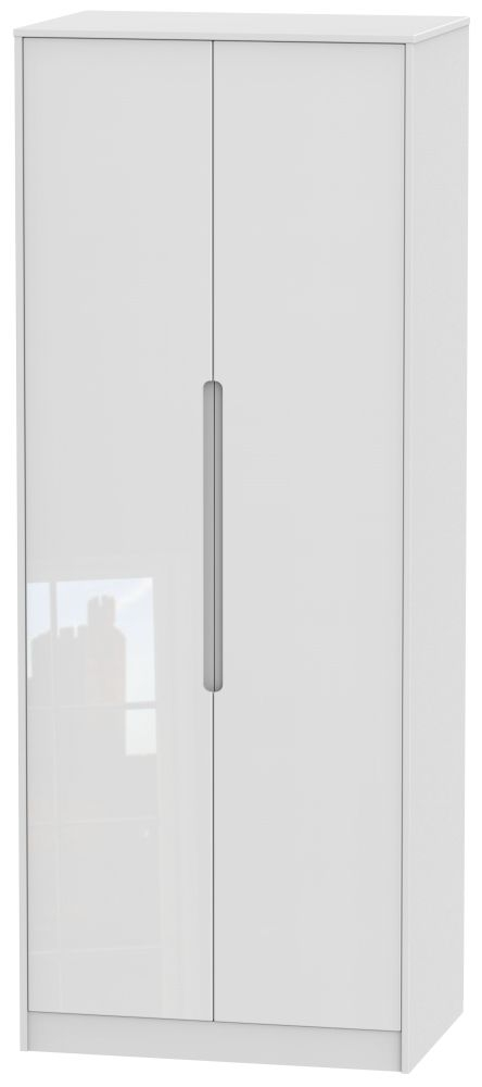 Monaco High Gloss White 2 Door Tall Hanging Wardrobe