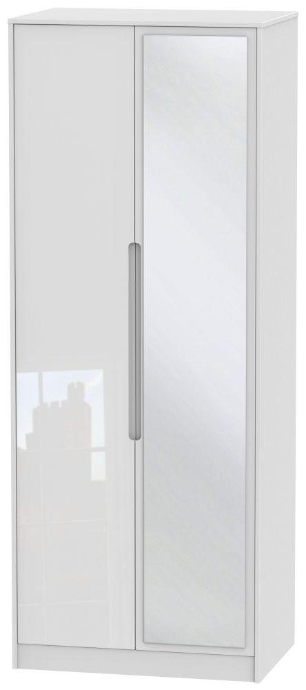 Monaco High Gloss White 2 Door Tall Mirror Wardrobe